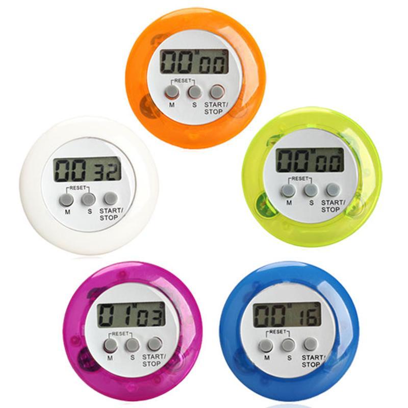Mini Digital Alarm Clock Round LCD Digital Kitchen purple
