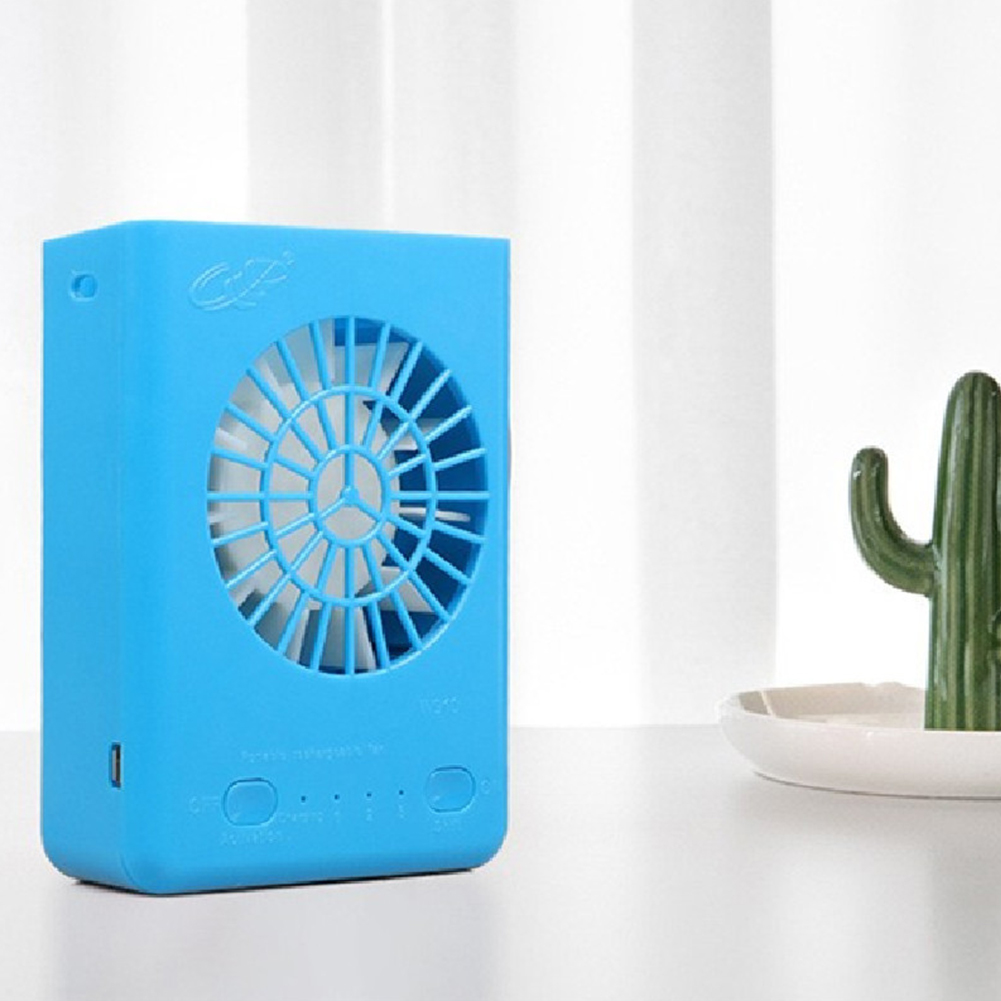 Mini Portable Pocket Fan Neck Hanging USB Charging Outdoor Fan blue_4 inch