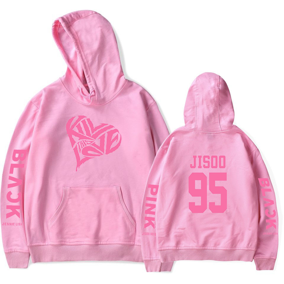 BLACKPINK 2D Pattern Printed Hoodie Leisure Pullover Top for Man and Woman Pink_L