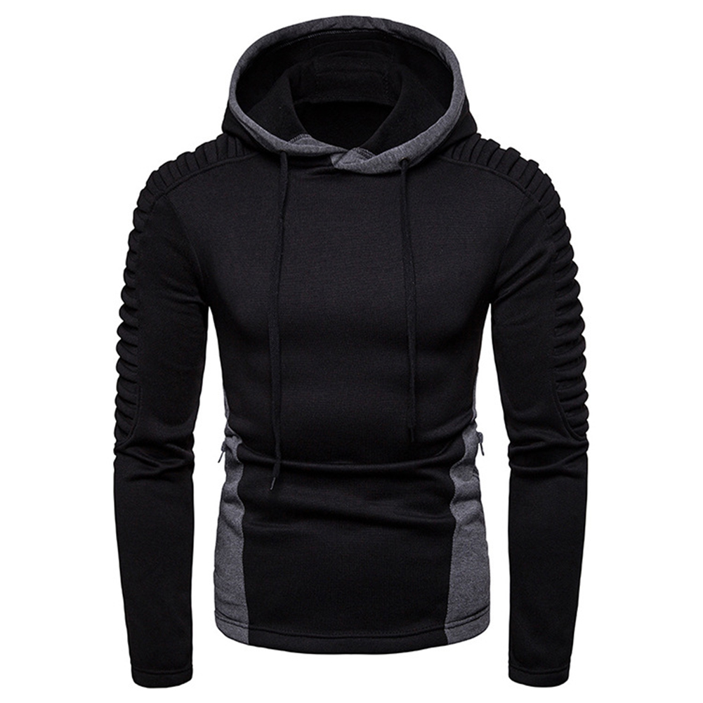Men Fashion Pleated Cotton Hoodie Pullover Long Sleeve Sweater Tops Black_XXL