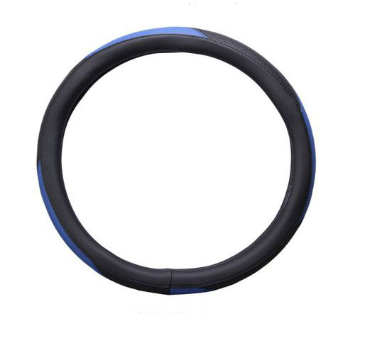 36cm 38cm 40cm Diameter 2-Colors Matching Car Steering Wheel Cover Sleeve for Universal Application Black and blue_40cm