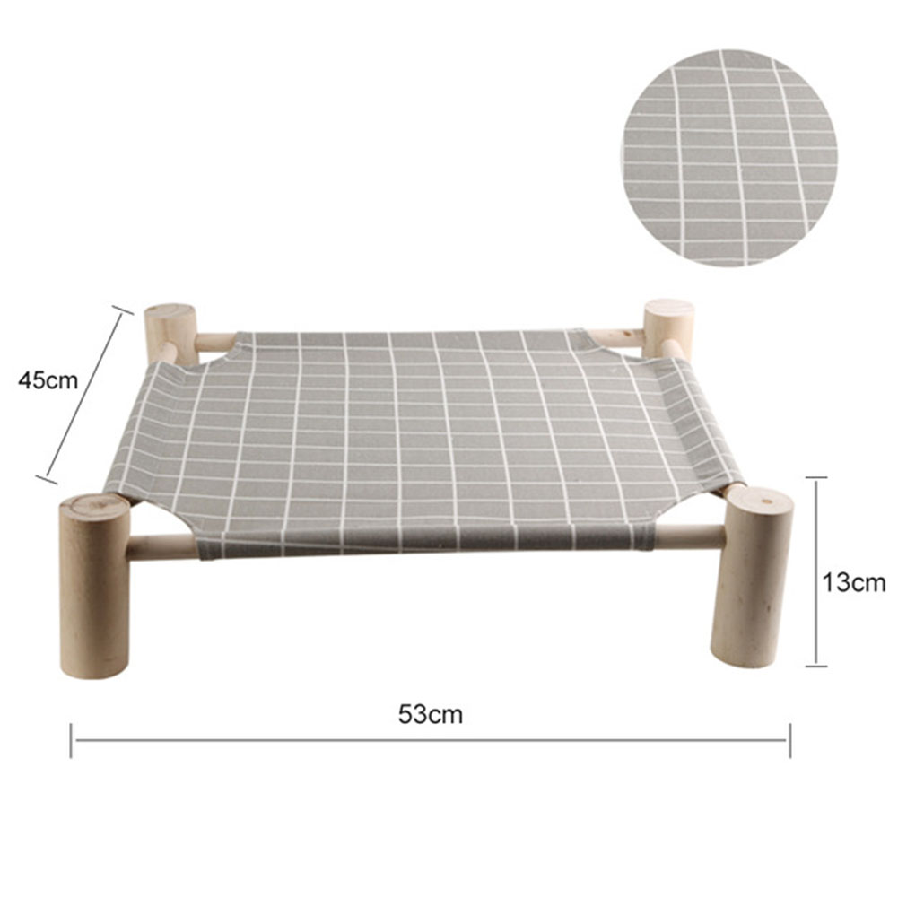 Detachable Pet Scratch Resistant Hammock Bed for Rabbit Dogs Puppy Cats Sleeping Gray grid_L-large