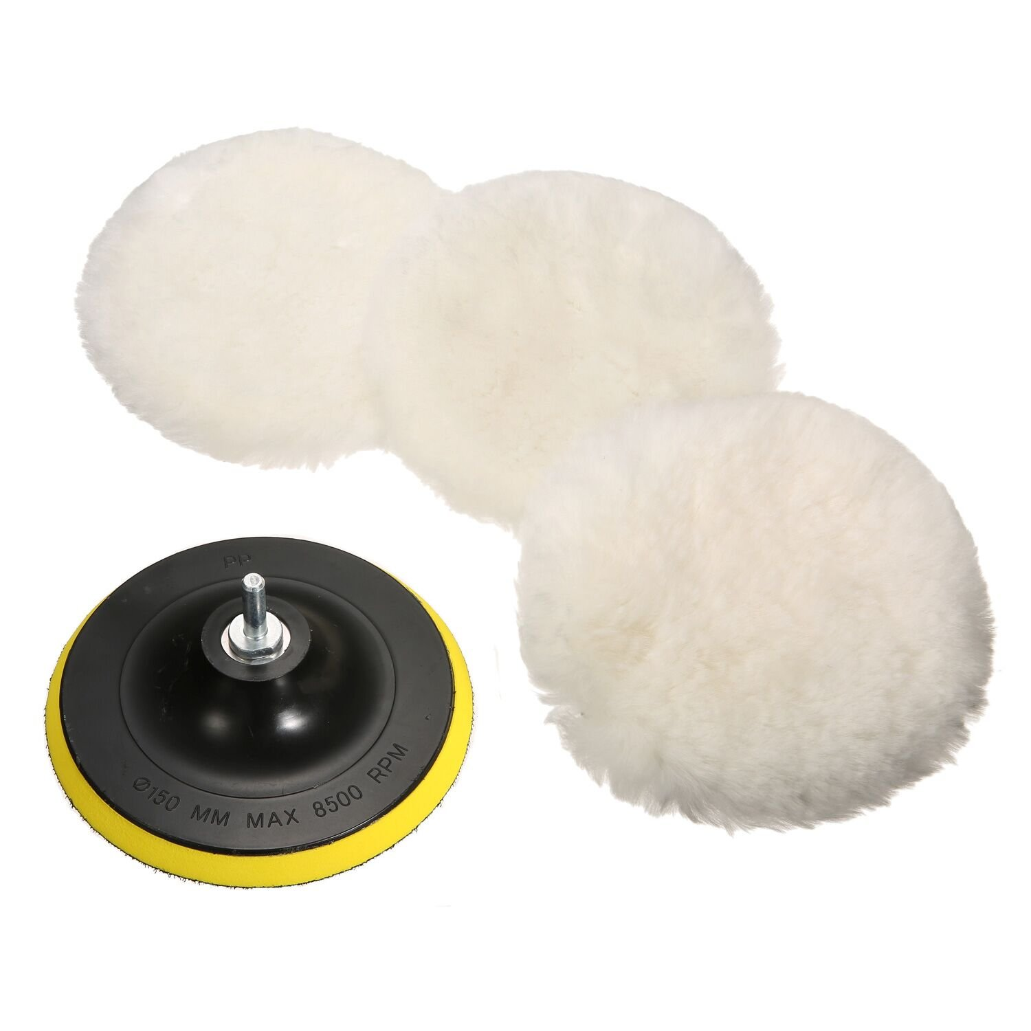 5Pcs 4Inches/6Inches/7Inches Polishing Buffer Wool Pads Fitted Liner M14 Drill Adapter  4-inch 100MM wool plate 5 piece set