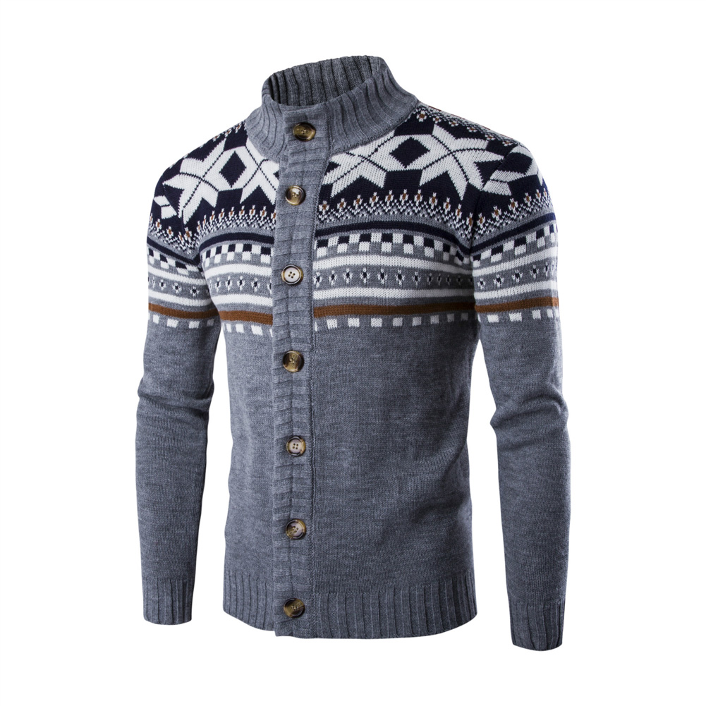 Autumn Winter Europe and America Style Christmas Male Single Jugged Base Shirt Cardigan Sweater light grey_L