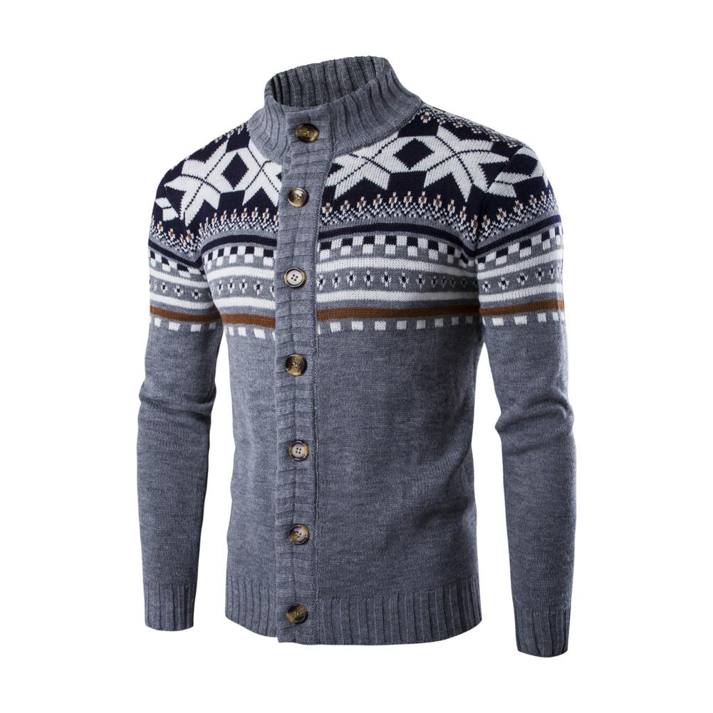 Autumn Winter Europe and America Style Christmas Male Single Jugged Base Shirt Cardigan Sweater light grey_M