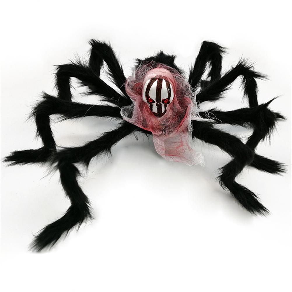 Halloween  Spider  Decoration Simulation Skull Head Spider Ghost Festival Horror Props Flower Faced Skeleton Spider