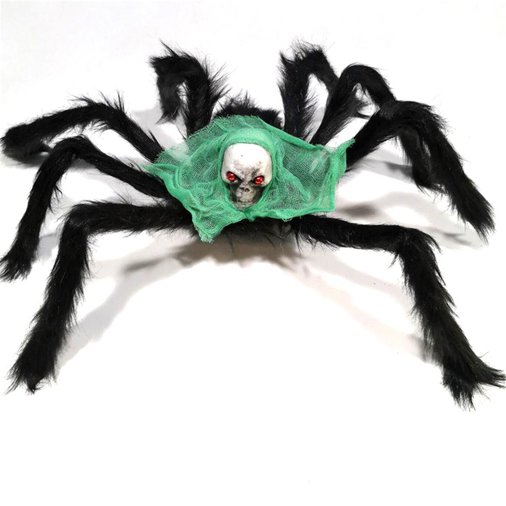 Halloween  Spider  Decoration Simulation Skull Head Spider Ghost Festival Horror Props Green Turban Spider