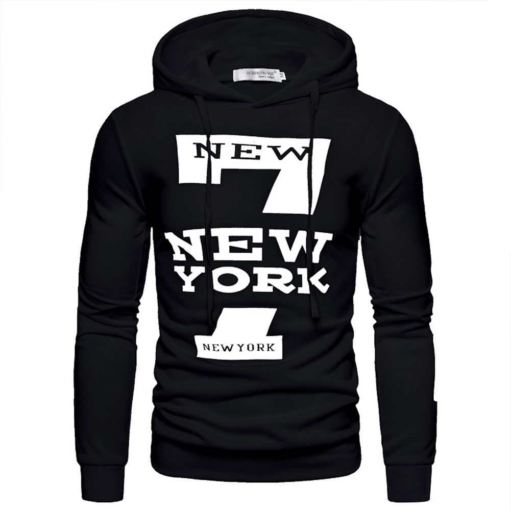 Men Hoodie Sweatshirt New York 7 Printing Drawstring Loose Male Casual Pullover Tops Black_2XL