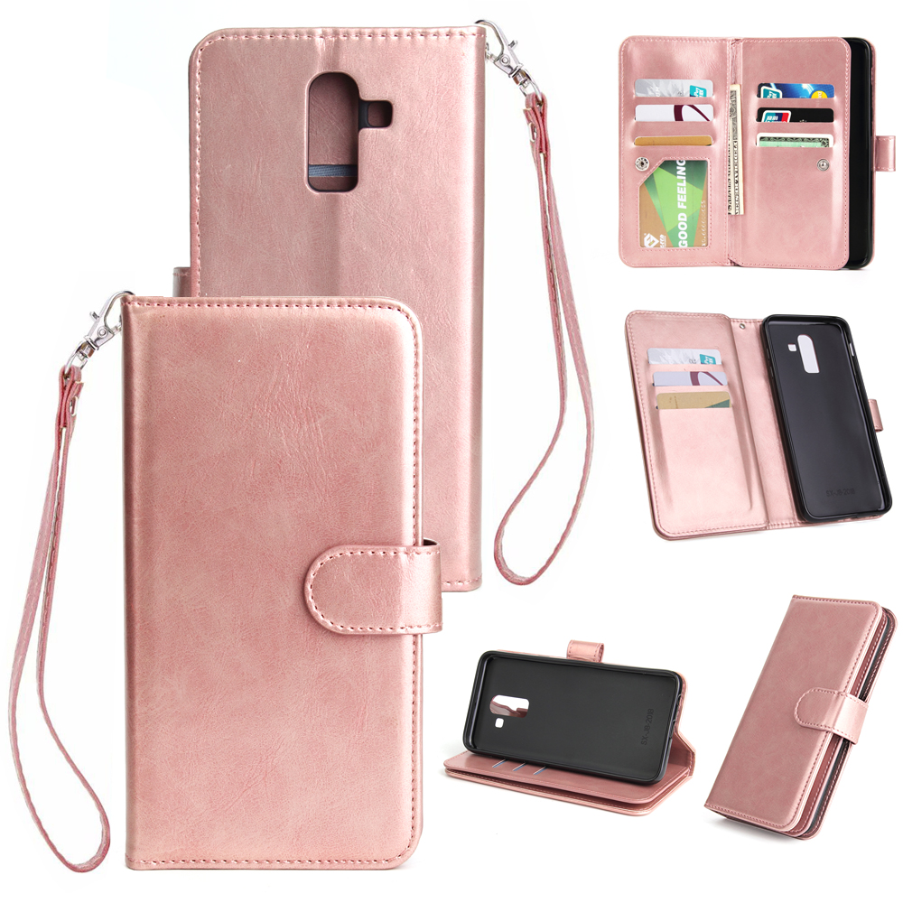 For Samsung J8 2018 PU Non-slip Shockproof Cell Phone Case with 9 Card Slots Lanyard Bracket Rose gold