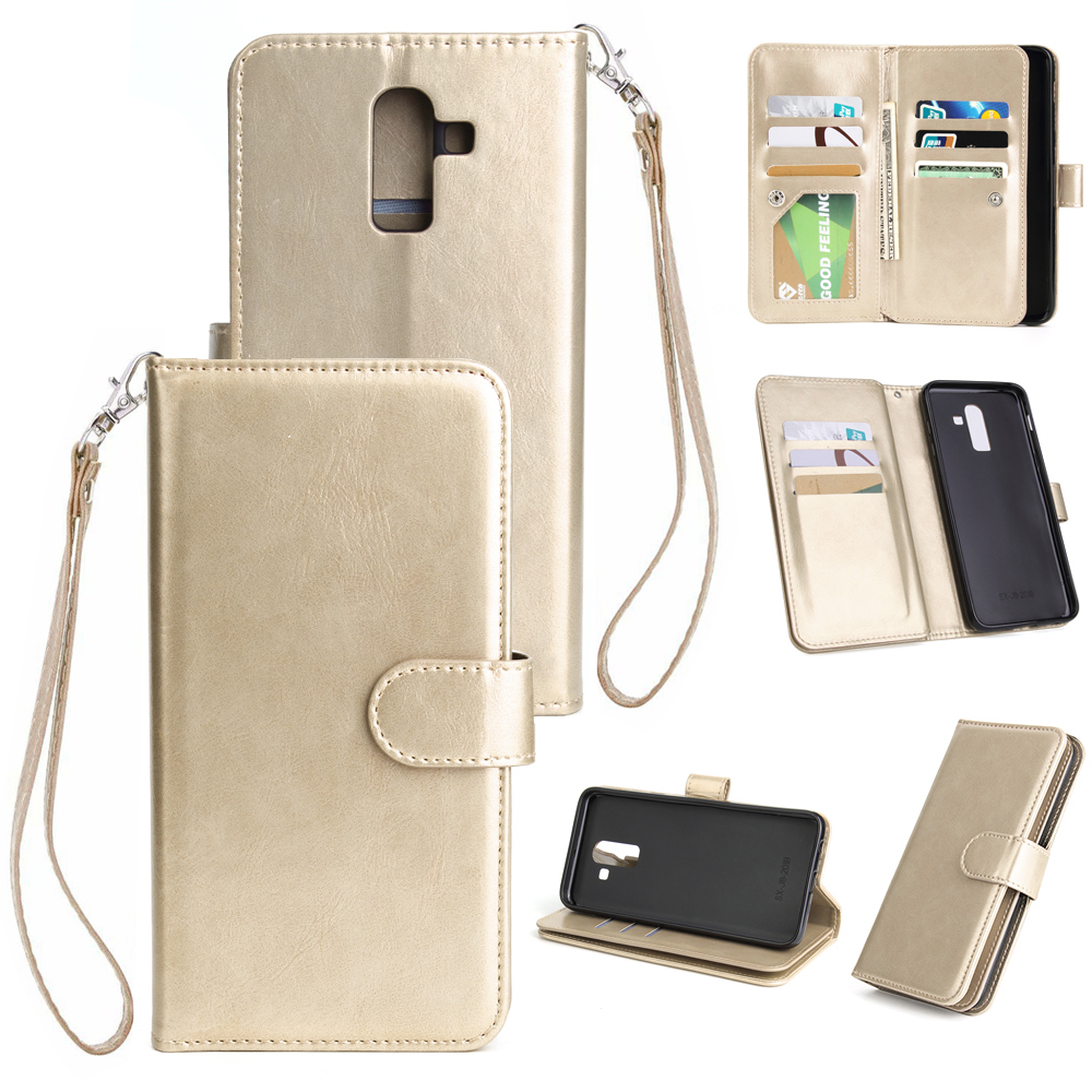 For Samsung J8 2018 PU Non-slip Shockproof Cell Phone Case with 9 Card Slots Lanyard Bracket  gold