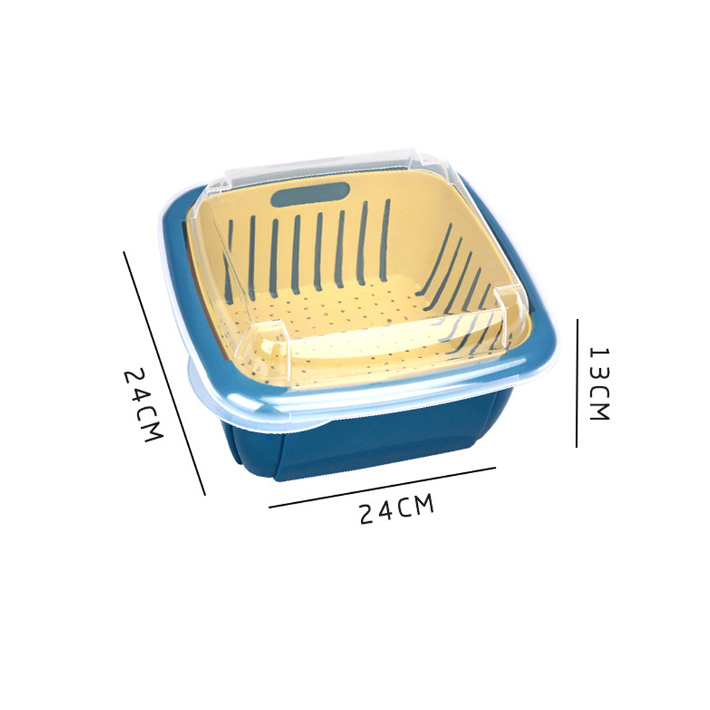 Double Tier Storage Box with Lid Household Refrigerator Fruit Vegetable Drain Basket Navy_24 * 24 * 13cm