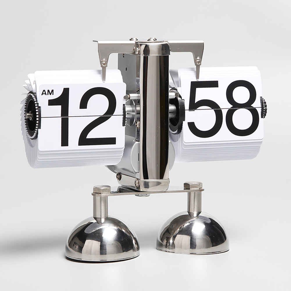 Movement Automatic Turning Page Clock Small Balance Living Room Clock Retro Art Clock Double Feet white