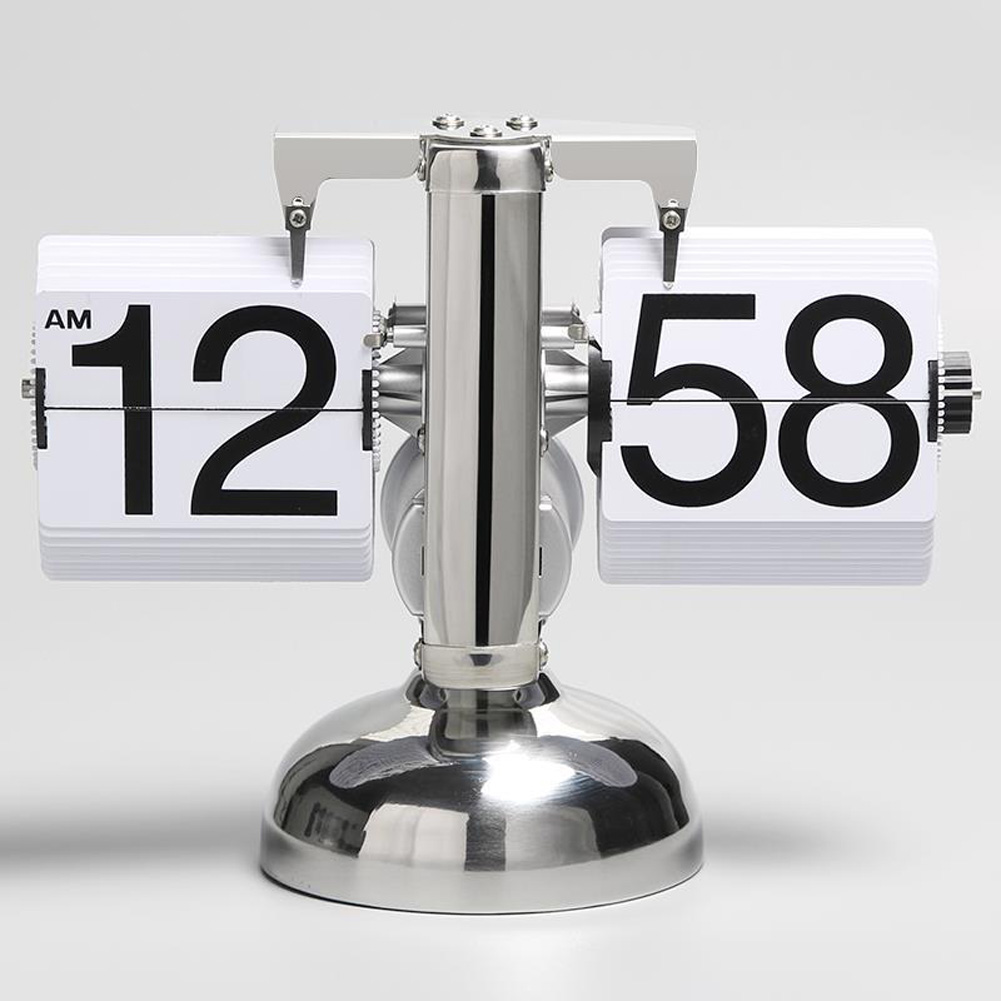 Movement Automatic Turning Page Clock Small Balance Living Room Clock Retro Art Clock Single foot white