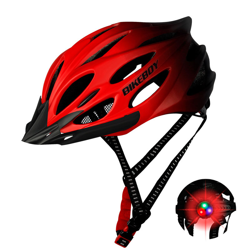 [Indonesia Direct] Men Women Piece Molding Cycling Helmet for Head Protection Bikes Equipment  Gradient red_One size