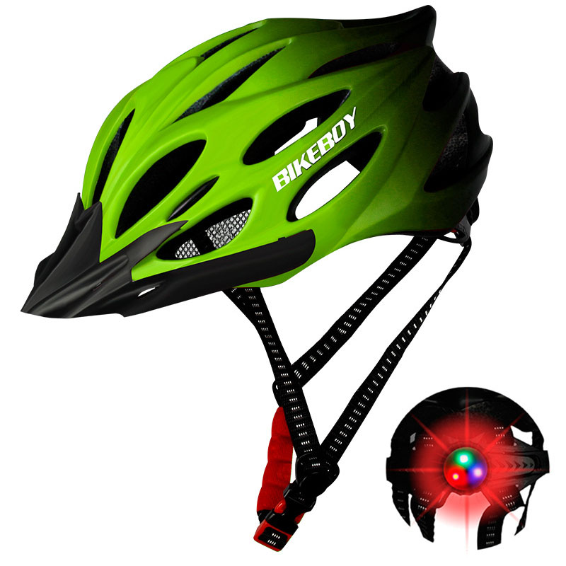 [Indonesia Direct] Men Women Piece Molding Cycling Helmet for Head Protection Bikes Equipment  Gradient green_One size