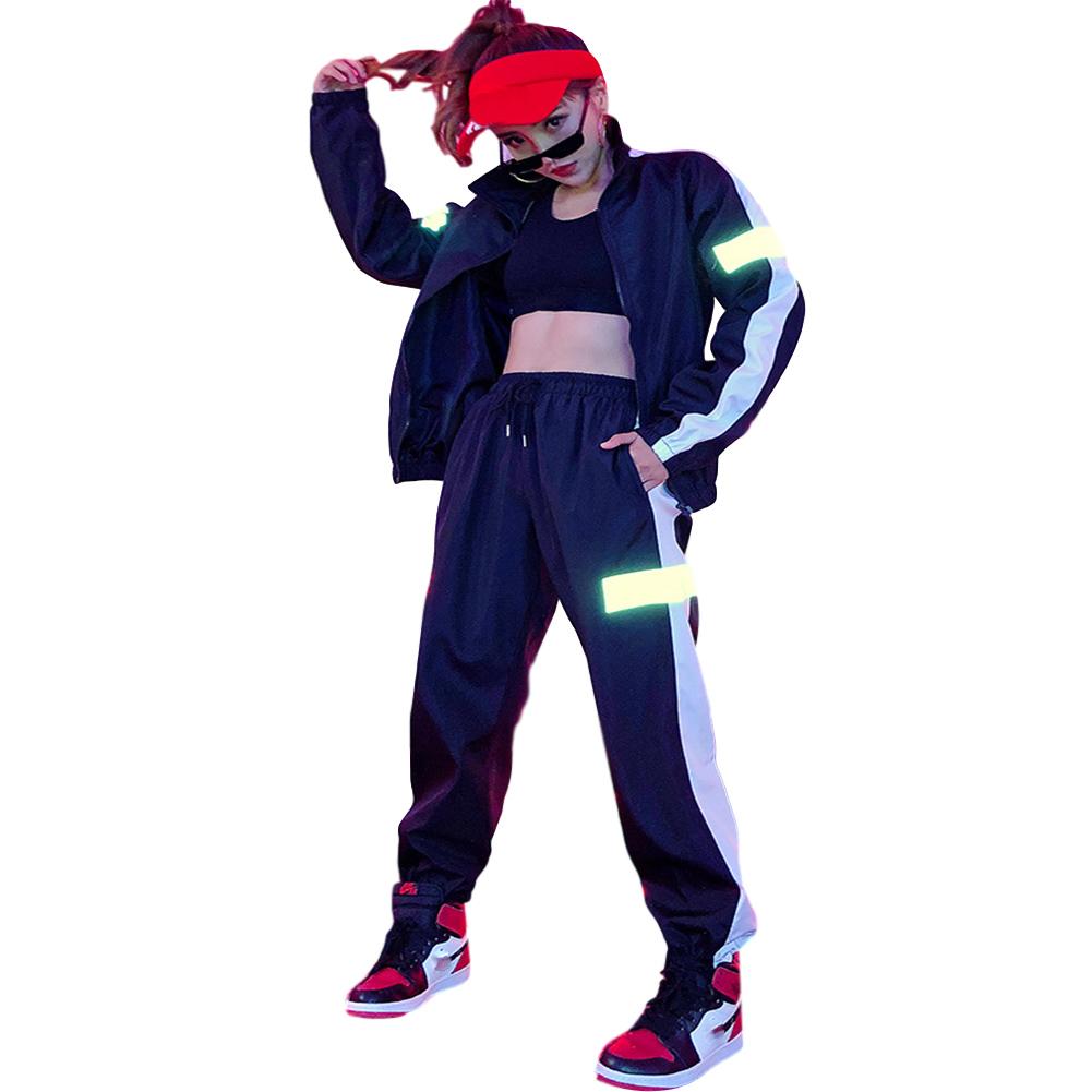 2 Pcs/set Men's and Women's Sports Suits Hip-hop Reflective Jackets+pants Sports Suits black_M