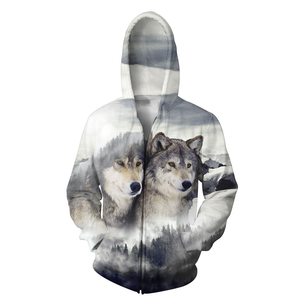 Unisex Hoodie 3D Snow Wolf Print Sweater Sweatshirt Jacket Coat Pullover Graphic Tops Snow wolf_XL