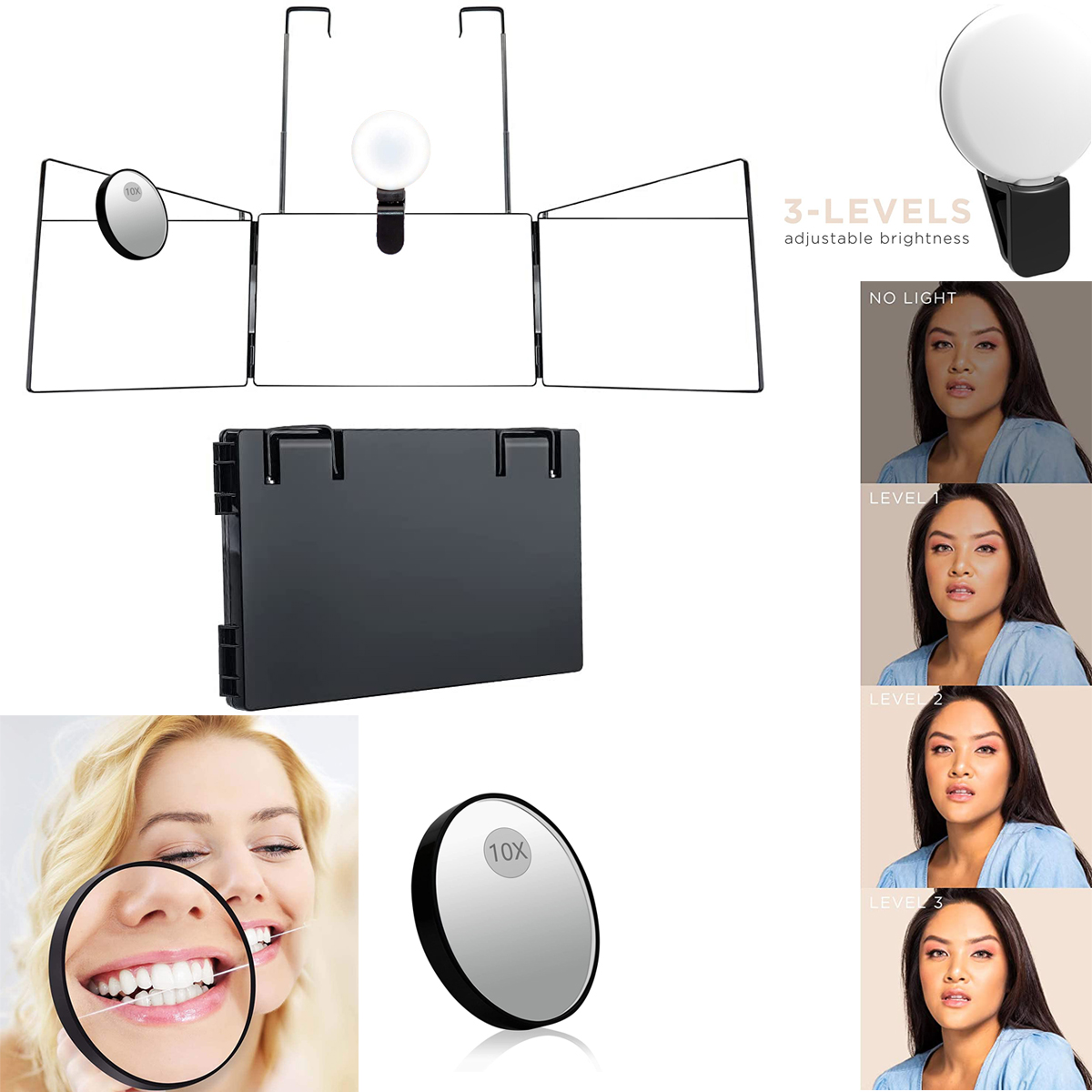 Three-sided  Folding  Makeup  Mirror Led Light 10x Magnifier Retractable Hanging Portable Mirror Black