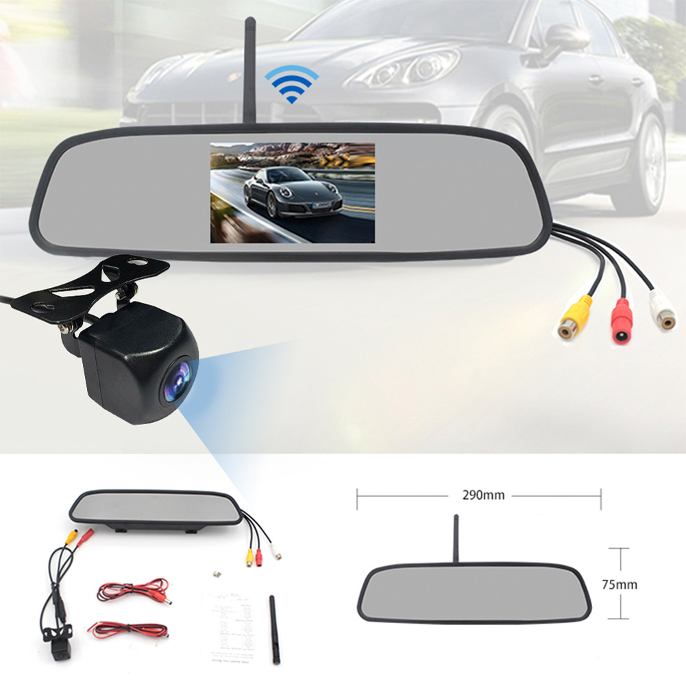 Rearview Mirror Dvr 4.3-inch Rear View Mirror + Reversing Camera Wireless Car Reversing Camera  black