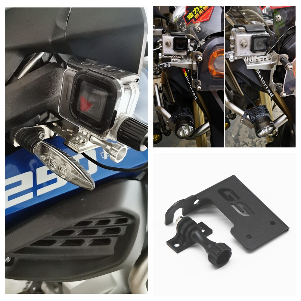 Motorcycle Front Left Bracket Support for BMW R1200GS R1250GS For Go Pro Dash Cam black
