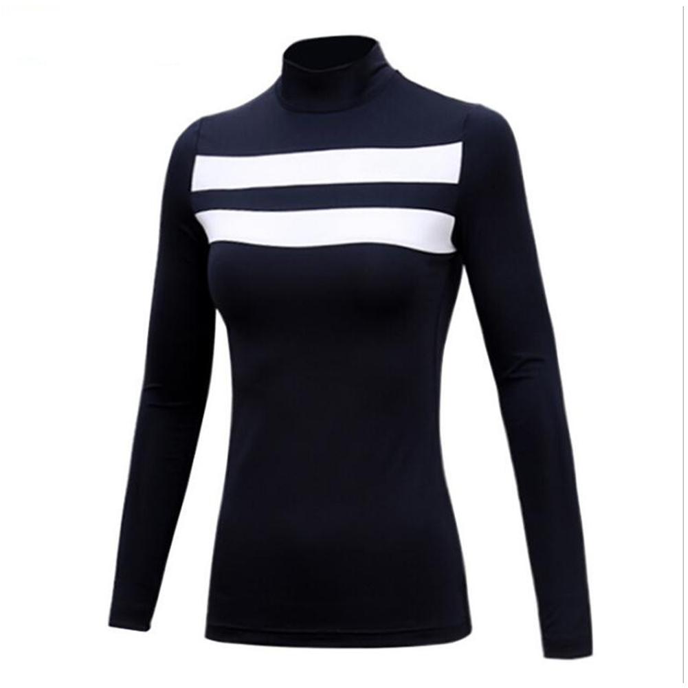 Golf Sun Block Base Shirt Milk Fiber Long Sleeve Autumn Winter Clothes YF144 navy blue [thick version]_M