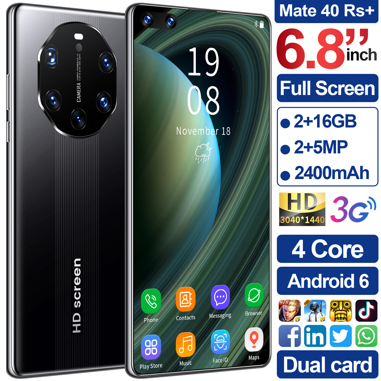 6.8-inch Mate40 RS+ High-definition Large-screen 3G Smartphone 2+16GB Black UK Plug