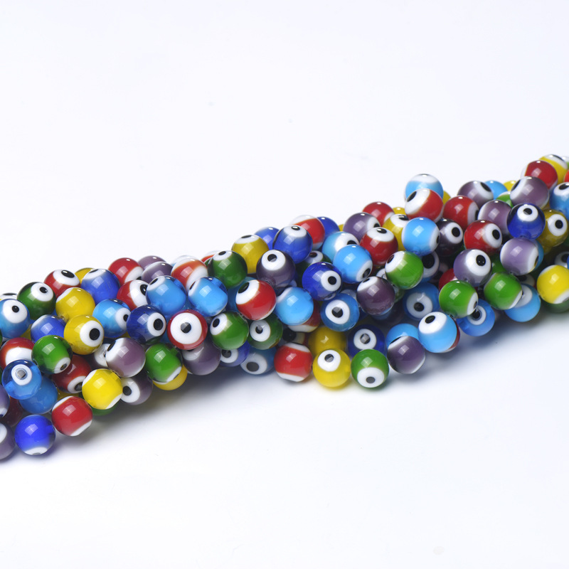 [EU Direct] Mixed Flat Millefiori Evil Eye Glass Loose Spacer Beads Choose 6mm 8mm 10mm 12mm 6mm 50pcs