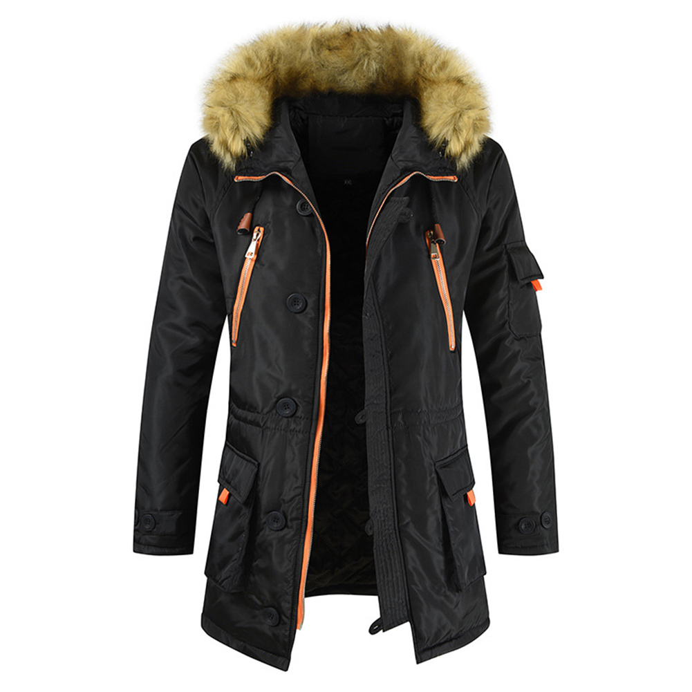 Men's  Coat  Long  Velvet  Fur Collar    Mid-length     Zipper    Padded  Jacket Black _XL