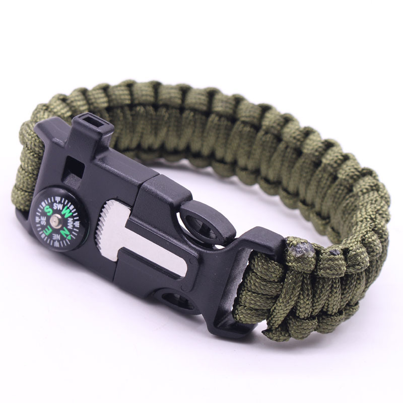 5-in-1 Multi-function Outdoor Seven-core Umbrella Rope Lanyard Camping Adventure Bracelet Army Green