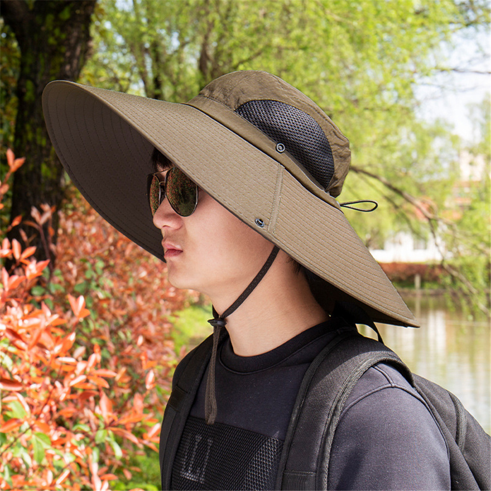 Quick-drying Fabric Fisherman Hat Protection Long Large Wide Brim Mesh Hiking Outdoor Beach Cap Pure color-brown_m-56-58cm