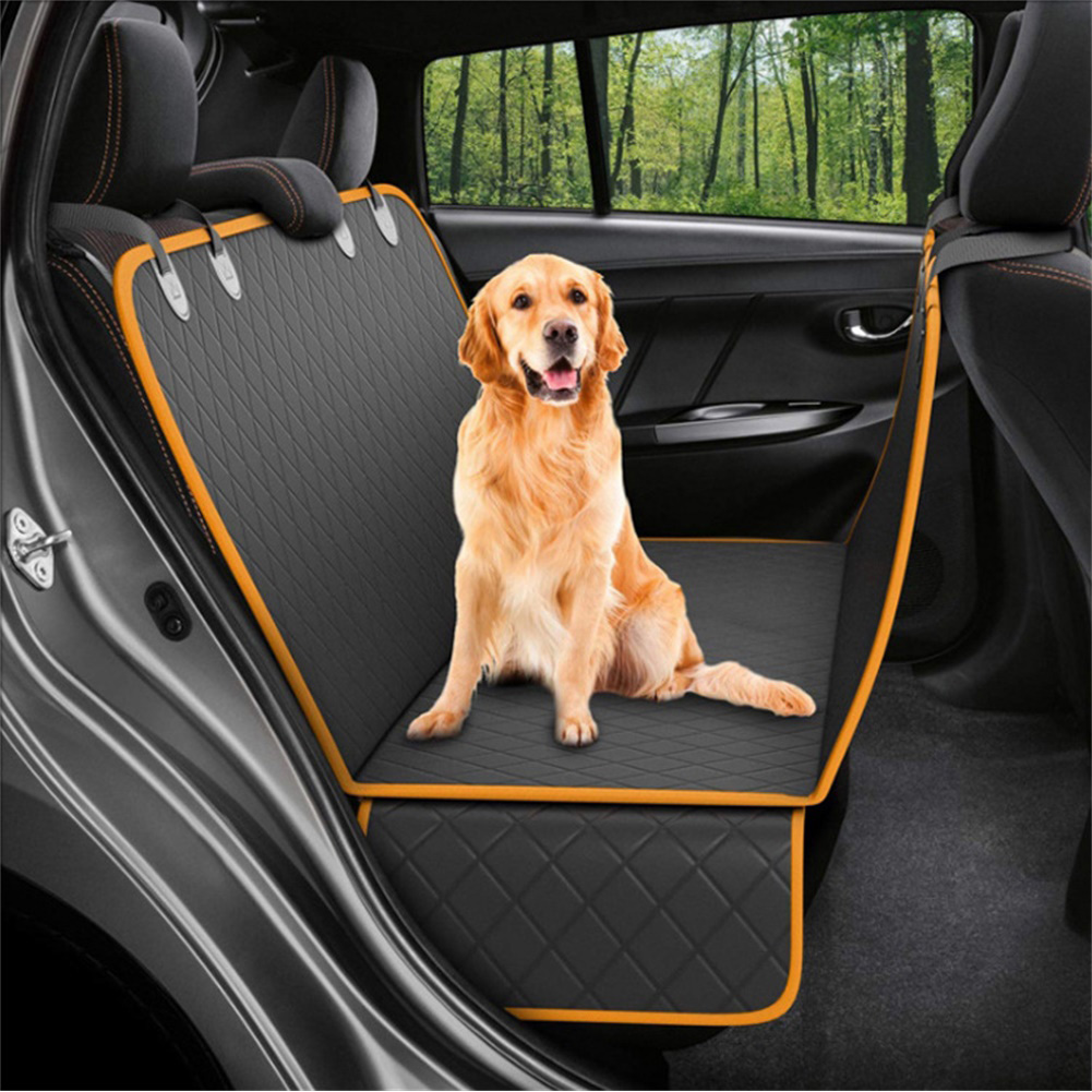 Dog Back Seat Car Cover Protector Waterproof Scratchproof Nonslip Hammock for Pet Against Dirt and Pet Hair Seat Covers Black+orange