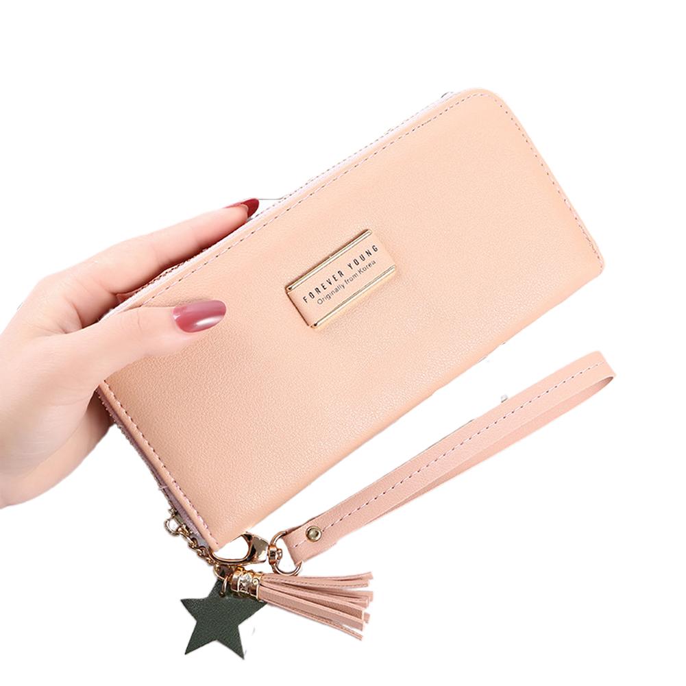 Women Long Wallet PU Leather Purse ID Bank Card Cellphone Coin Holder Zipper Hand Bag light pink