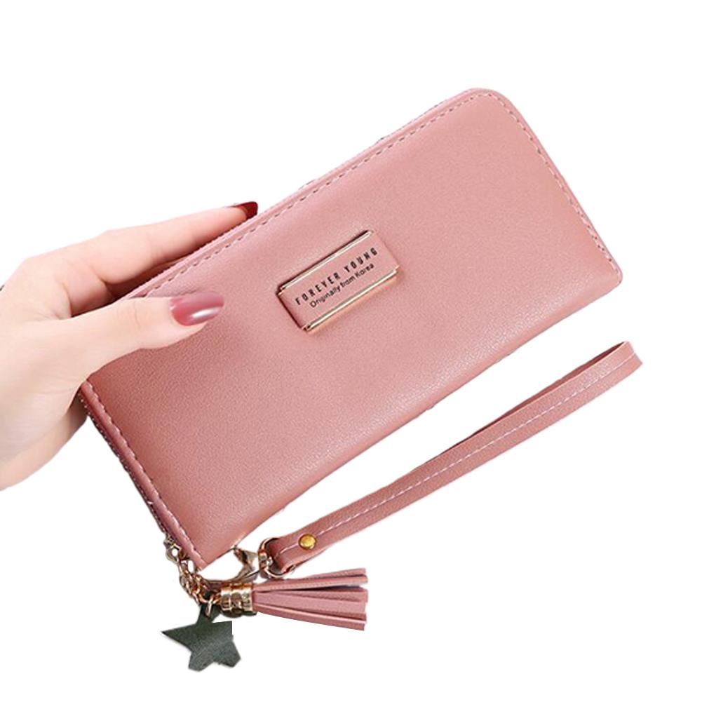 Women Long Wallet PU Leather Purse ID Bank Card Cellphone Coin Holder Zipper Hand Bag dark pink
