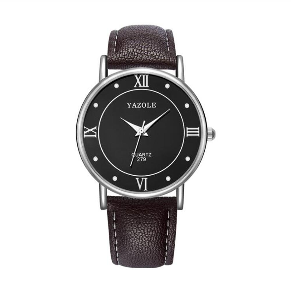 Lovers Business Fashion Leisure Simple Type Quartz Wristwatch large black dial brown belt