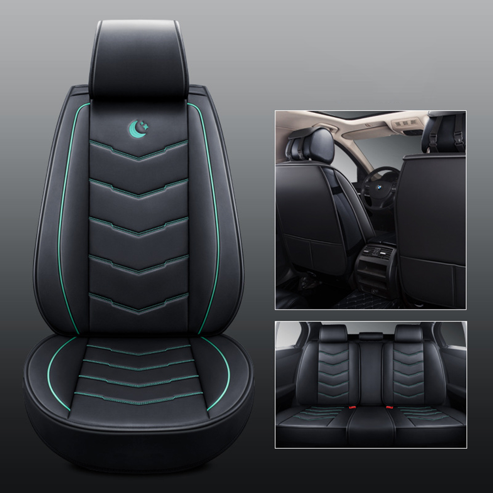Universal Car Seat Covers 3D PU Leather Set Cushion Full Protector Black Green Standard Edition