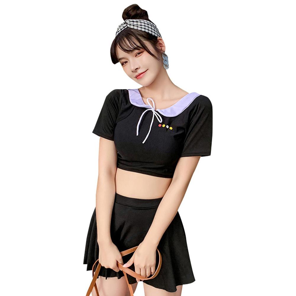 2 Pcs/set Women  Split  Skirt  Swimsuit Boxer Anti-exposure Conservative Fashion Spring Swimwear Black_L