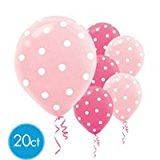 [US Direct] 20 ct Round Helium Quality 12` Pink Polka Dot Balloons