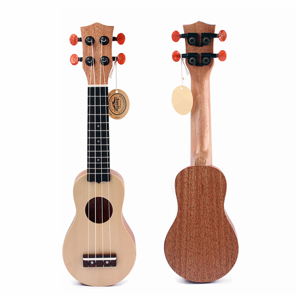 17 inch Spruce Okoume Mahogany Neck Mini Pocket Guitar Ukulele Music Instrument Toy with Pouch Spruce