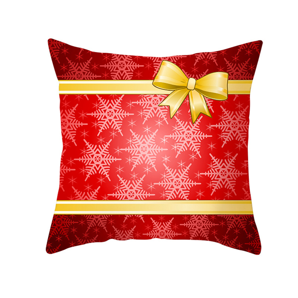 Christmas Cushion Cover 45*45 Red Merry Christmas Printed Polyester Decorative Pillows Sofa Decoration 34