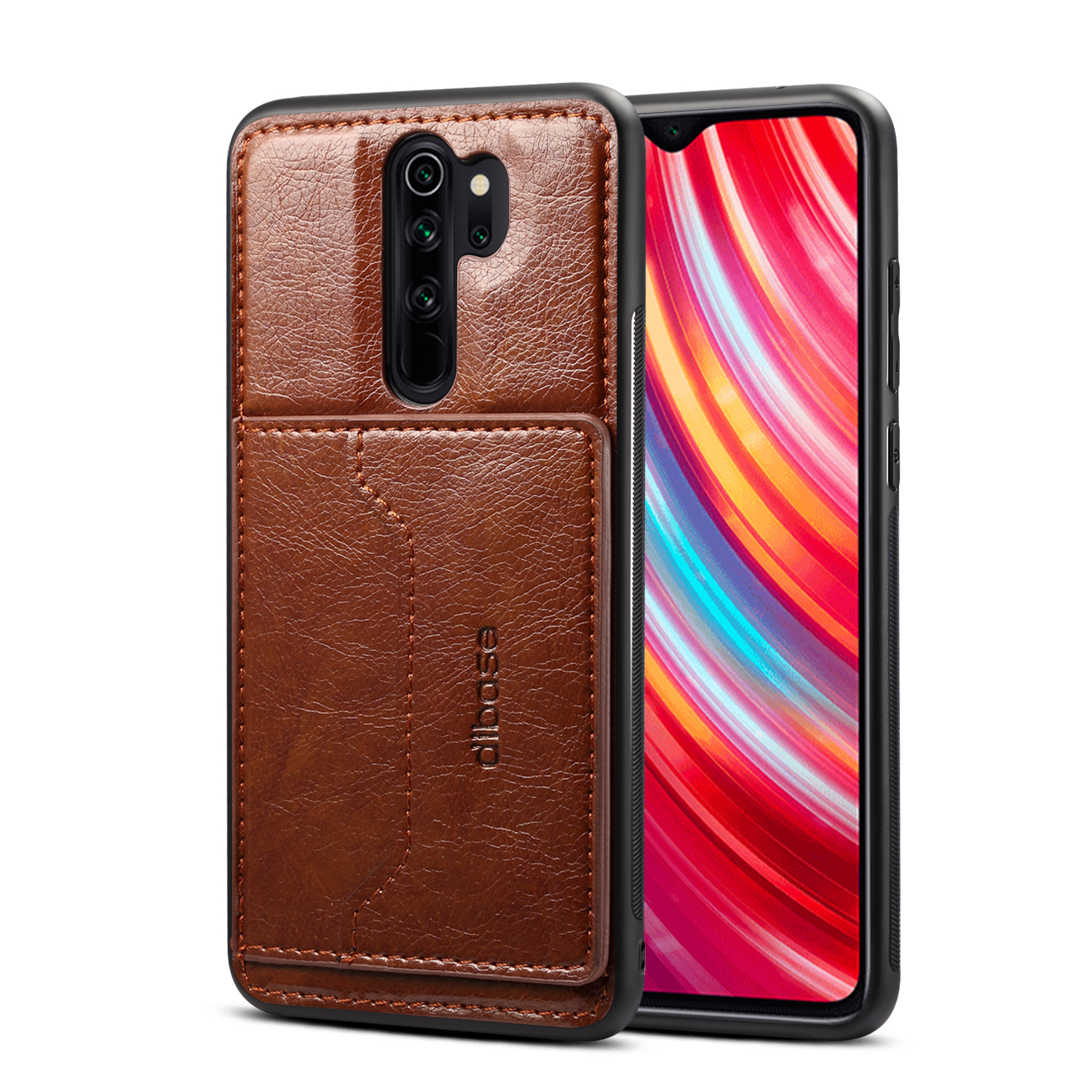 For Red Mi NOTE 8/8 Pro Cellphone Smart Shell 2-in-1 Textured PU Leather Card Holder Stand-viewing Overall Protection Case coffee