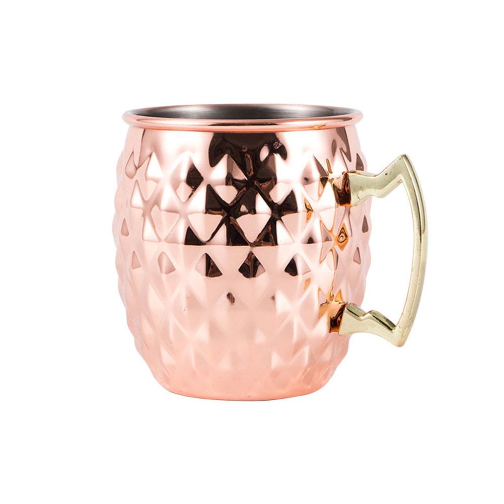 304 Stainless Steel Cup Rippled Mug Beer Mug Cocktail Glass Bar Drinkware Rose gold