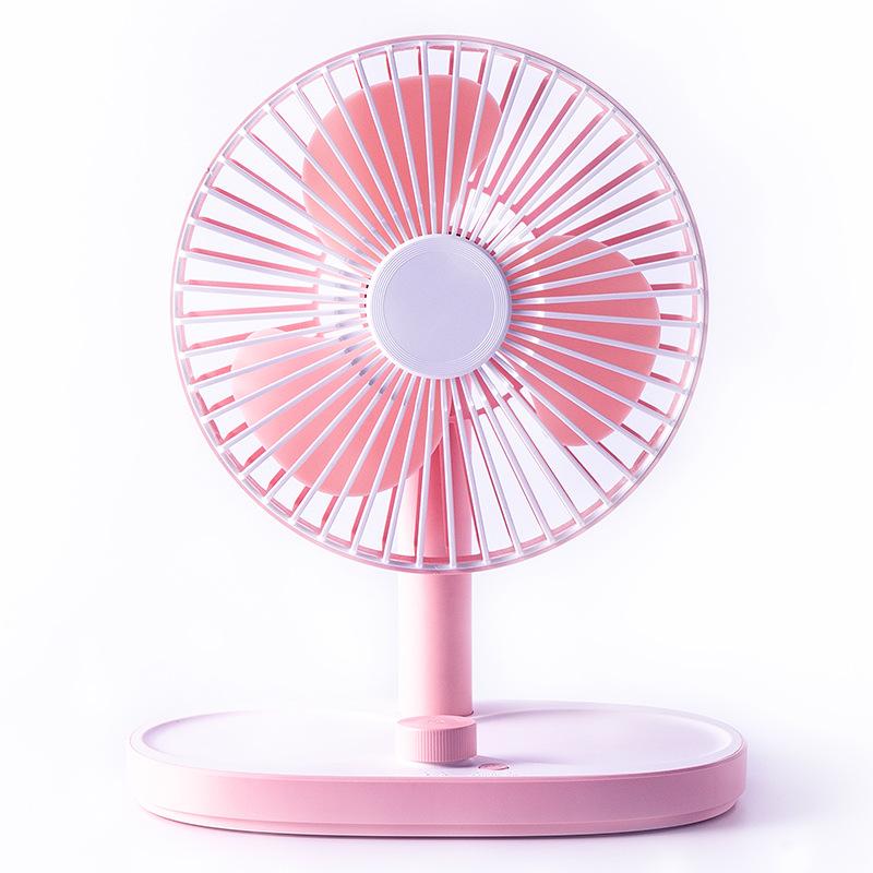 Portable Mini USB Charging Fan Desktop Standing Adjustable Electric Fan Cherry pink