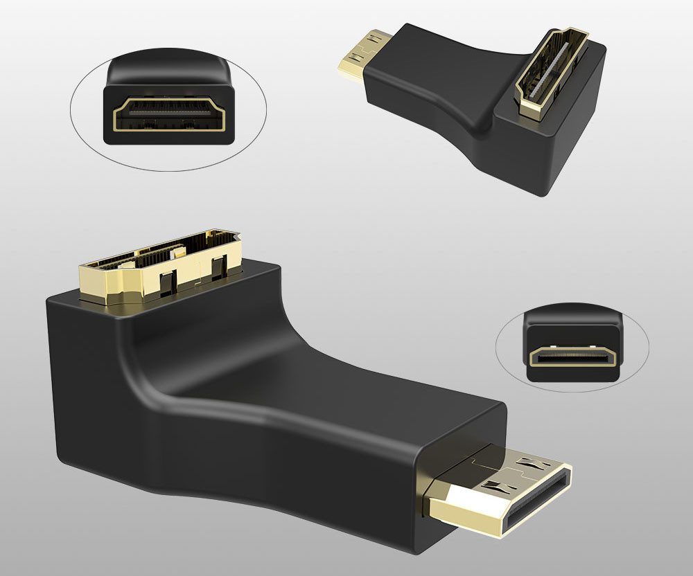 HDMI Cable Connector Adapter 270 180 90 Degree Angle HDMI Male to HDMI Female Converters for 1080P HDTV
