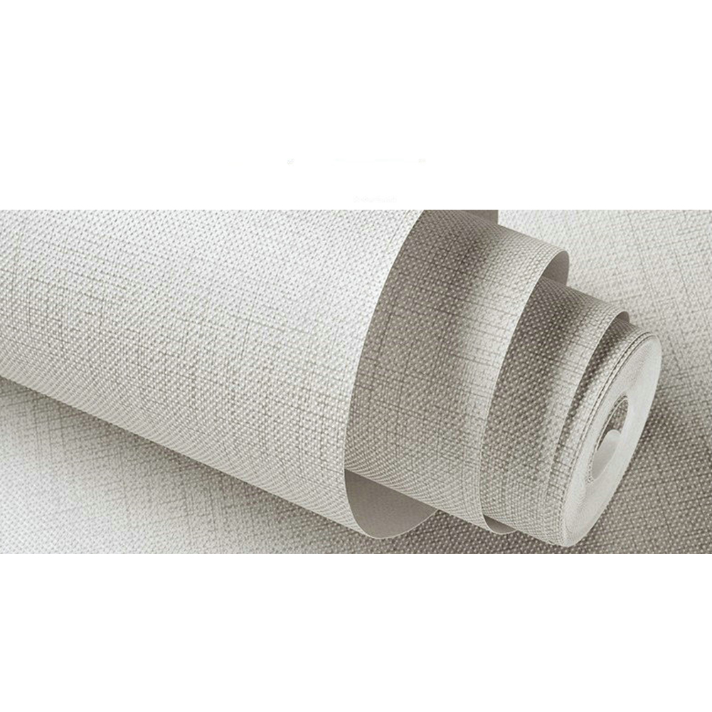 Solid Color  Non-Woven Wallpaper for TV Background Decor 10M light grey