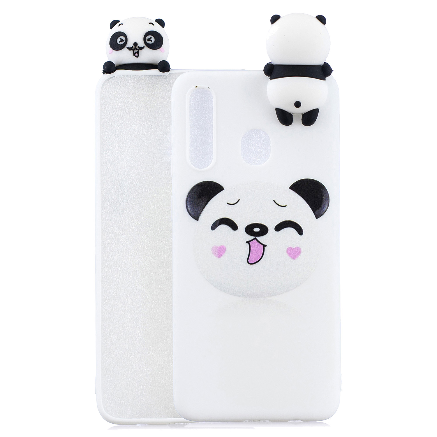 For Samsung A10S A20S Color Painting Pattern Drop Protection Soft TPU Mobile Phone Case+Back Cover Bracket Smiley panda
