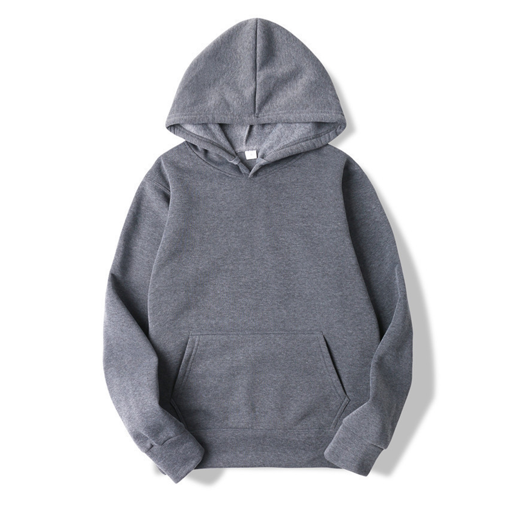 Men's Hoodie Autumn and Winter Loose Long-sleeve Velvet Solid Color Pullover Hooded Sweater Dark gray_L