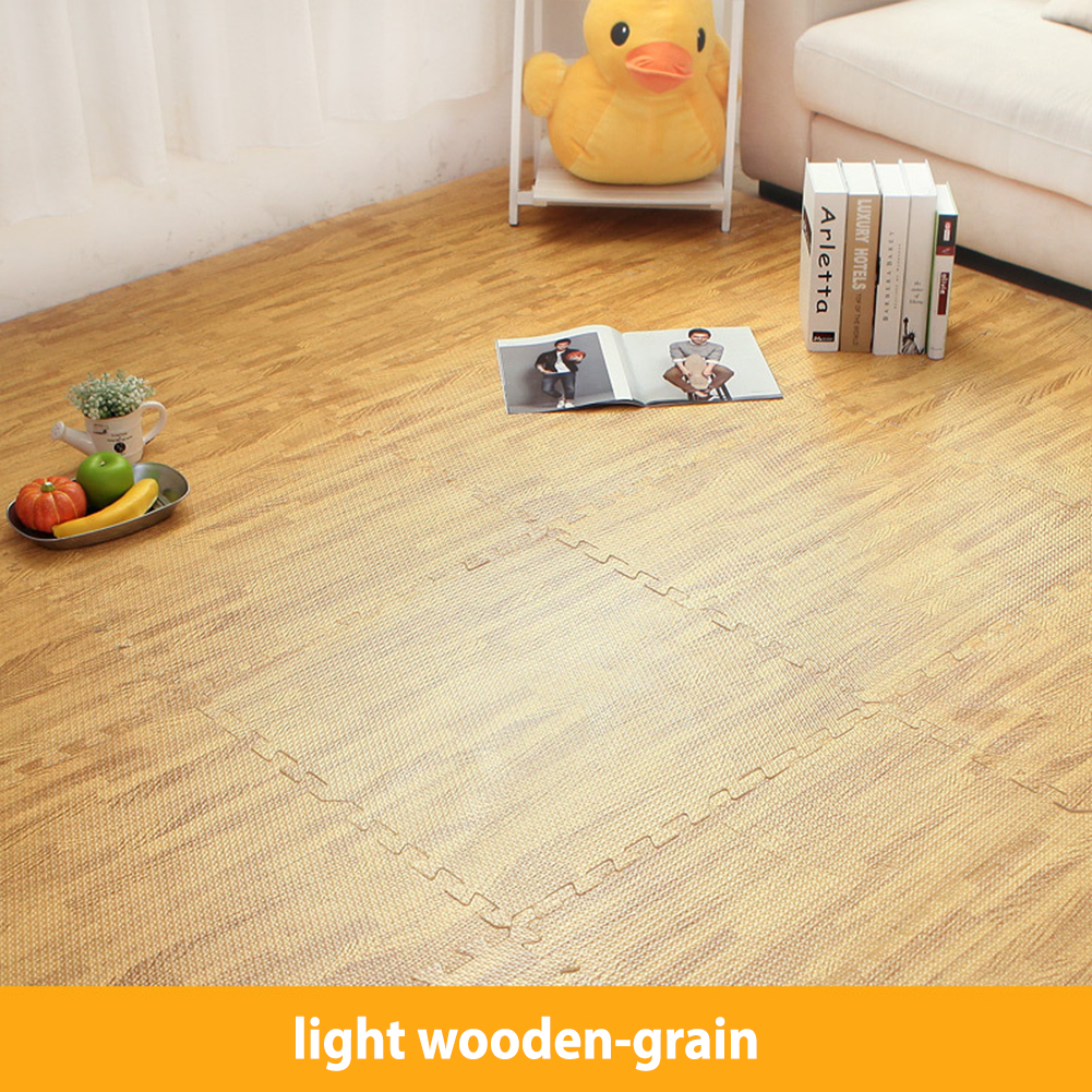 30*30cm Waterproof Wooden Grain Sound Insulation Nonslip Creeping Mat for Kids Light wood grain_30x30x1.0cm