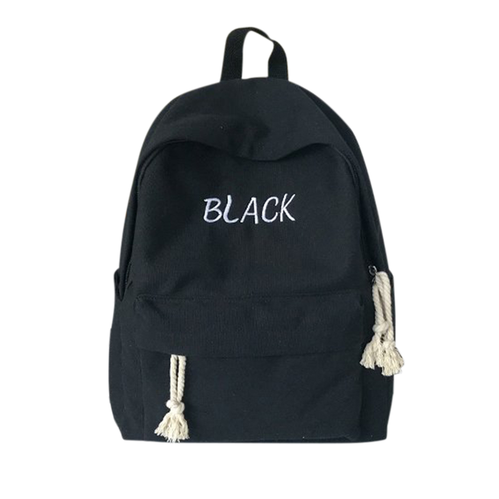 Student Fashion Solid Color Backpack Casual Double Zipper Letter Printing School Bag Travel Bag