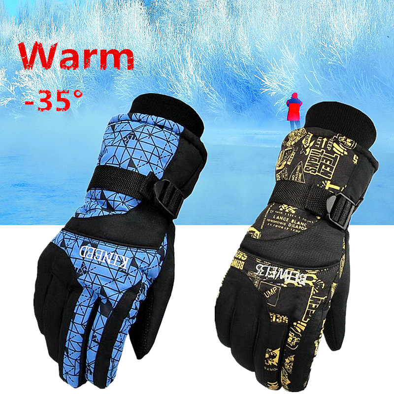 Men / Women Waterproof Winter Ski Snowboard Gloves for Skiing Snowboad Shoveling black