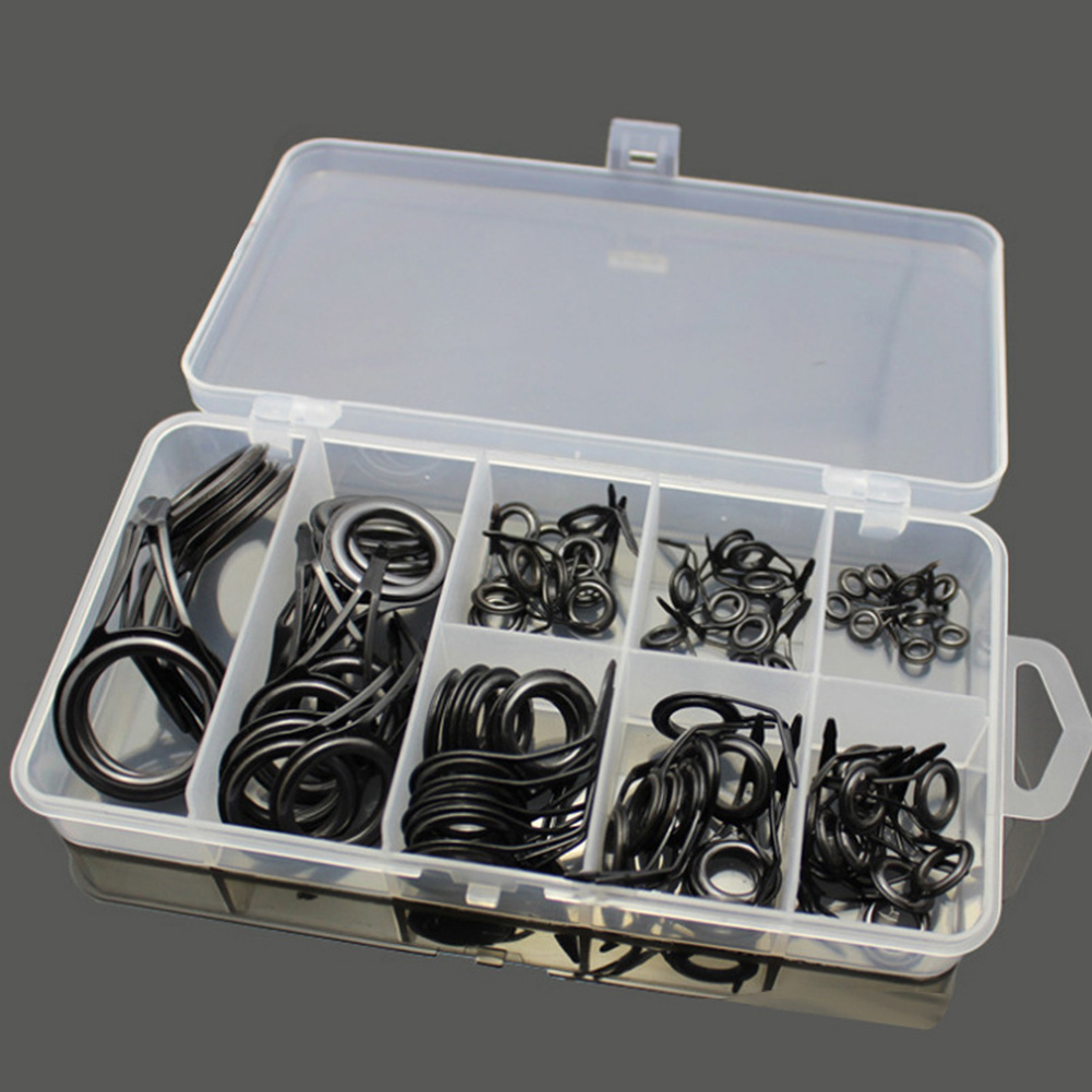 75 Packed Fishing Rod Guides Set Tip Repair Kit High Carbon Steel Fishing Set black_75 pcs / box